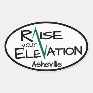 Lönelyft din höjd - Asheville - oval klistermärke