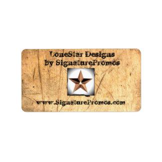 LoneStar på Wood etiketter Adressetikett