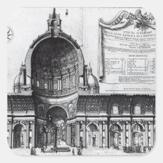 Longitudinal tvärsnitt av St Peter Fyrkantigt Klistermärke