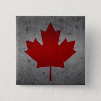 Lönnlöv för kanadensare för Kanada Grungeflagga Standard Kanpp Fyrkantig 5.1 Cm