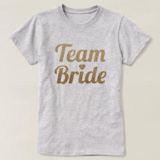 Look för glitter för lagbrud guld- t-shirt