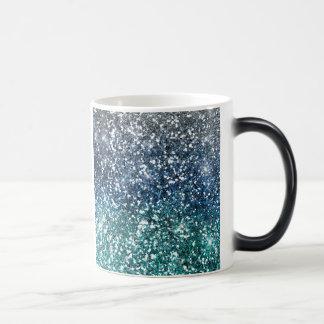 Look för glitter för silverkrickablått magisk mugg