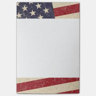 Look för Grunge för vintagestilamerikanska flaggan Post-it Block