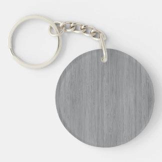 Look för korn för grå bambu för aska Wood Dubbelsidigt Rund Akryl Nyckelring