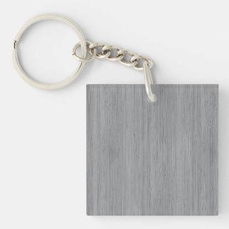 Look för korn för grå bambu för aska Wood Fyrkantigt Dubbelsidigt Nyckelring I Akryl