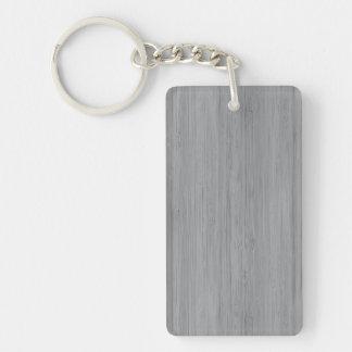Look för korn för grå bambu för aska Wood Rektangulärt Dubbelsidigt Nyckelring I Akryl