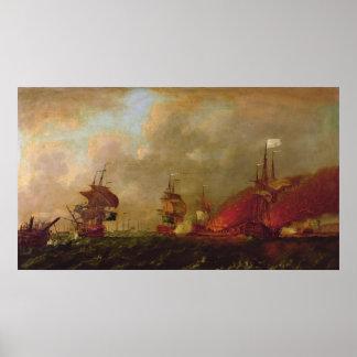 Lord Howe och Comten d'Estaing av Rhode Poster