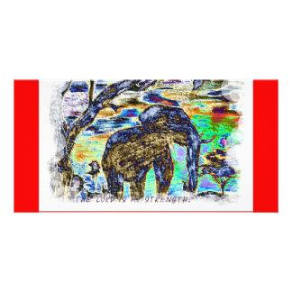 Lorden är min färgglada elefant för styrka fotokort