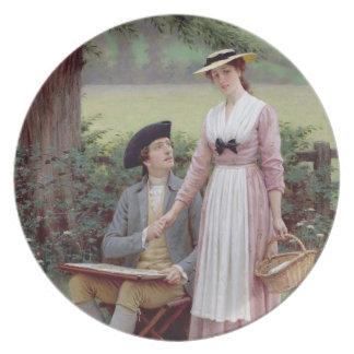 Lorden av Burleigh Tennyson 1919 olja på canva Fest Tallrikar