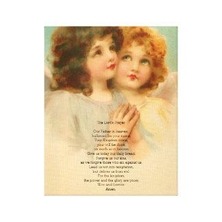 Lords Bön med gullig änglar Canvastryck