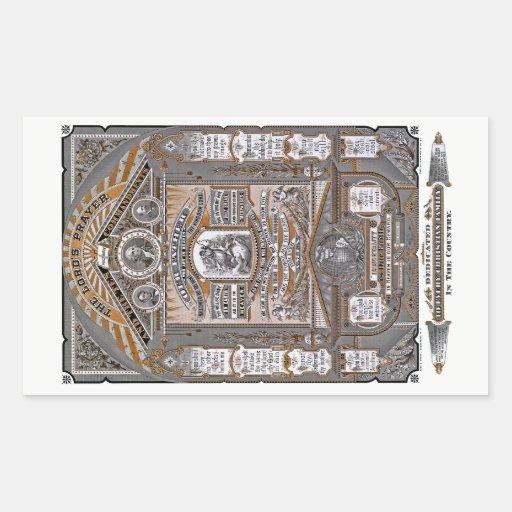 Lord'sens gravyren för Bön vintage (ORANGEN) Rektangelformat Klistermärke