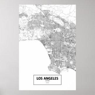 Los Angeles Kalifornien (svarten på vit) Poster