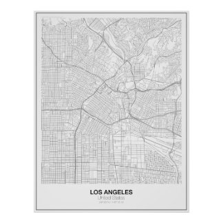 Los Angeles Minimalist kartaaffisch (stil 2) Poster