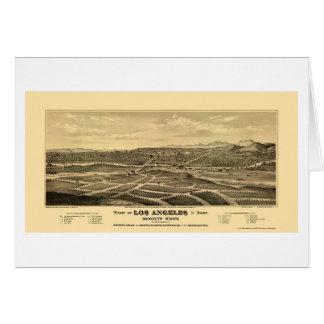 Los Angeles panorama- karta för CA - 1877 Hälsningskort