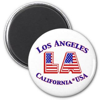 Los Angeles USA patriotisk logotyp Magnet Rund 5.7 Cm