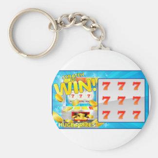 Lotteriskrapa och segerkort rund nyckelring