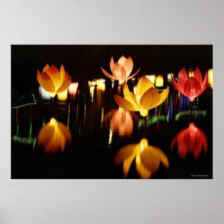 Lotusblomma formade lyktor för mitt- höstfestival poster