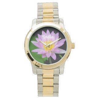 Lotusblomma i Indien Armbandsur