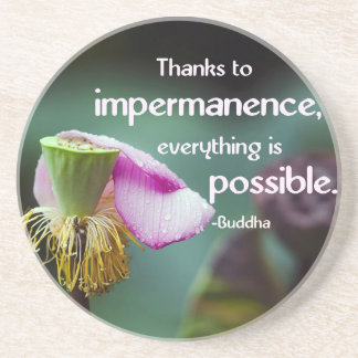 Lotusblomma/Impermanence-Buddhas Glasunderlägg I Sandsten