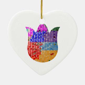 LOTUSBLOMMA: Symbol av fred och renhet Hjärtformad Julgransprydnad I Keramik