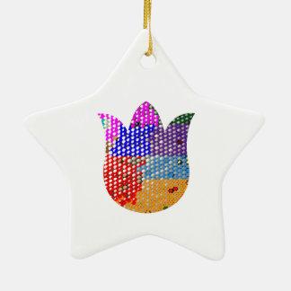 LOTUSBLOMMA: Symbol av fred och renhet Stjärnformad Julgransprydnad I Keramik