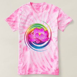 Lotusblommablomma i regnbåge t-shirt