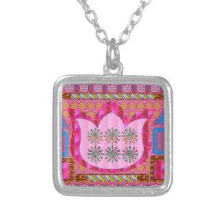 LOTUSBLOMMAblomma: Intuitiv konst - pärlor, juvlar Silverpläterat Halsband