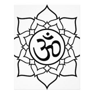 Lotusblommablomma, svart med vitbakgrund brevhuvud