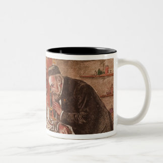 Louis Pasteur experimentera Två-Tonad Mugg
