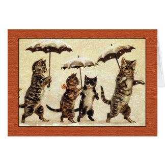 Louis Wain katter med paraplyhälsningkortet Hälsningskort