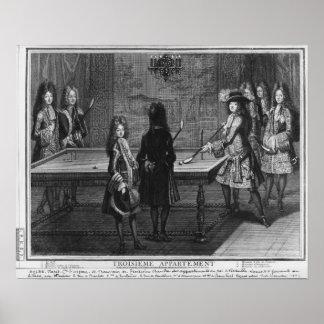 Louis XIV leka biljard med hans broder Poster