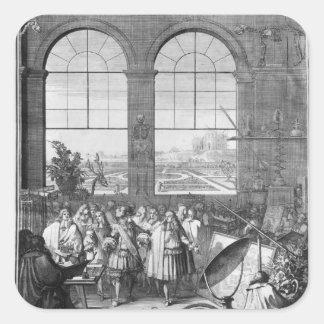 Louis XIV och hans besöka för följe Fyrkantigt Klistermärke