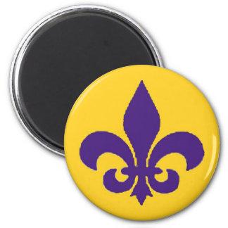 Louisiana Fleur de Lis Lila guldmagnet Magnet