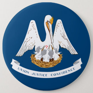 Louisiana statlig flagga jumbo knapp rund 15.2 cm