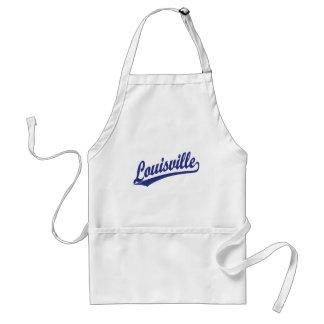 Louisville skrivar logotypen i blått förkläde