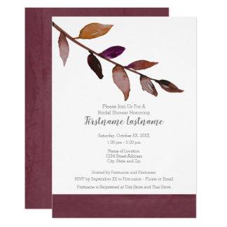 Löv för nedgång för modern vattenfärgmöhippa 12,7 x 17,8 cm inbjudningskort