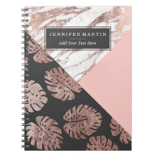 Löv för ost för rodna marmor för rosa ros guld- anteckningsbok