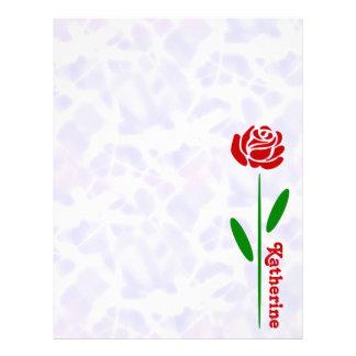 Löv för Stem för singelröd rosgrönt skräddarsy Brevhuvud