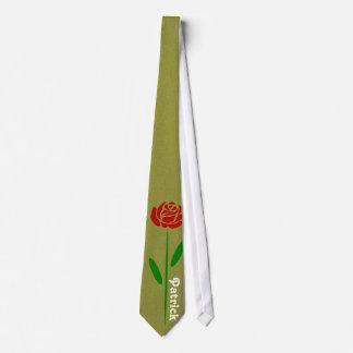 Löv för Stem för singelröd rosgrönt skräddarsy Slips