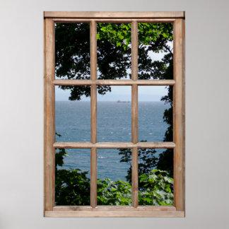 Löv och havet beskådar från ett fönster poster