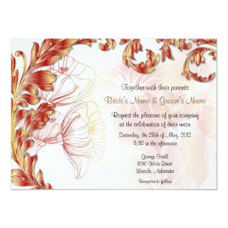 Löv & vallmor - djupt - rött guld 14 x 19,5 cm inbjudningskort