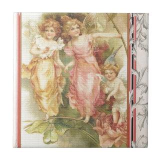 Lovande person - änglar & blommor liten kakelplatta