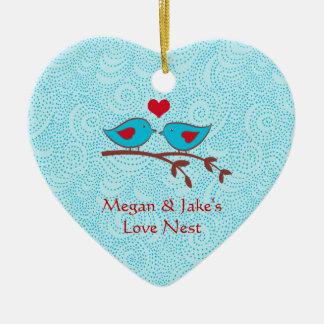 Love birds älskar bygga bo dörrhängareprydnaden julgransprydnad keramik