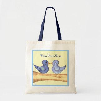 Love birds (blått) tote bags