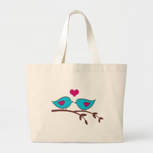 Love birds på grönt tote bag