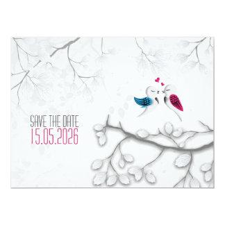 Love birds på Magical vit - bröllop spara datum 16,5 X 22,2 Cm Inbjudningskort