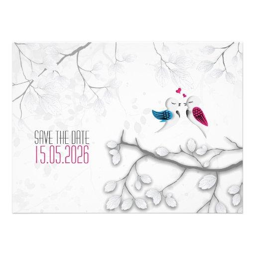Love birds på Magical vit - bröllop spara datum Kort För Inbjudningar