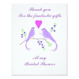 Lovebirds tackar för möhippagåvor, kort 10,8 x 14 cm inbjudningskort