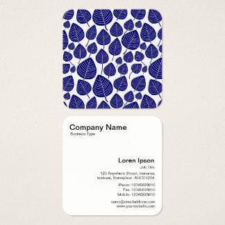 Lövmönster - mörk - blått fyrkantigt visitkort
