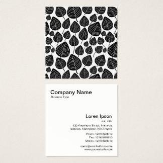 Lövmönster - svart på vit fyrkantigt visitkort